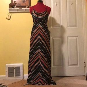 Vintage 70's Chevron Stripe Maxi Dress